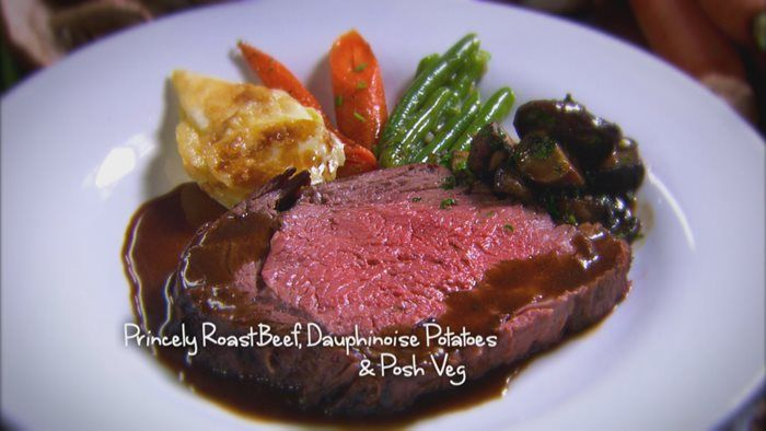 Paul & Nick's Princely roast beef, with Dauphinoise potatoes and posh veg.