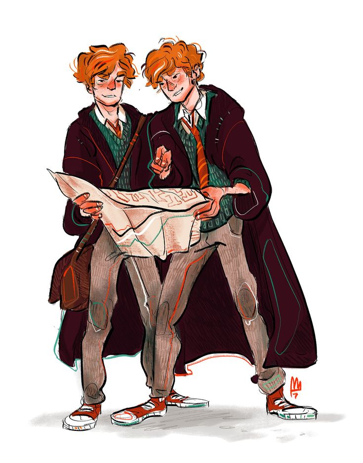 Happy birthday Fred and George Weasley! Art by smelslikeart. Pinned by @lilyriverside
