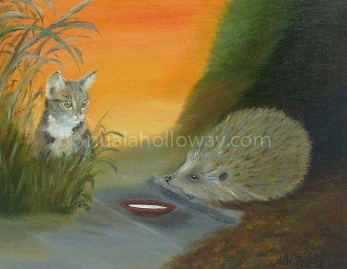 """Puzzled"" by Nuala Holloway - Oil on Board #Hedgehog #Cat #Kitten #IrishArt"