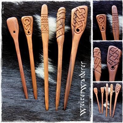 "Carved Wooden Claokpins. (site is in German) ""I have again used the carving knife and made the last major cherry wood sections. I only used my carving knife, which was at times quite tricky. Come out a handful of garment or hairpins. Lined up they are here by size. The smallest must make do without ornaments, because the wood was too thin to Beschnitzen. The next size has on one side a simple braid pattern, both a hole to secure it when used as a dress pin with a leather or fabric ribbon."""
