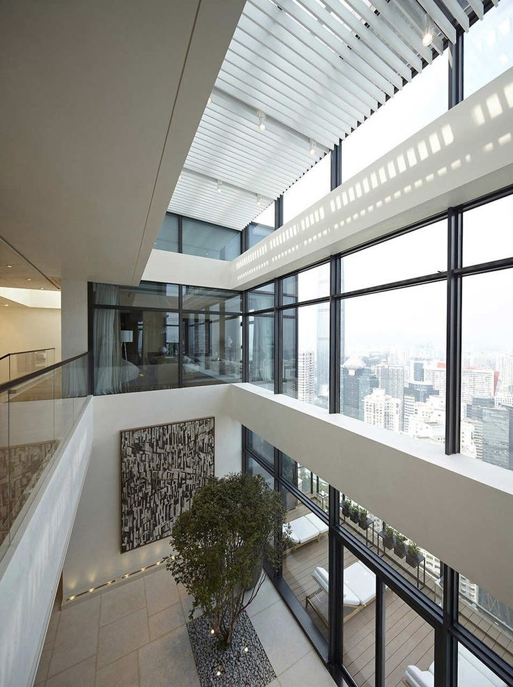 Atrium in a 2 story penthouse in China High Rise Living - dieses moderne weise penthouse stockholm demonstriert luxus