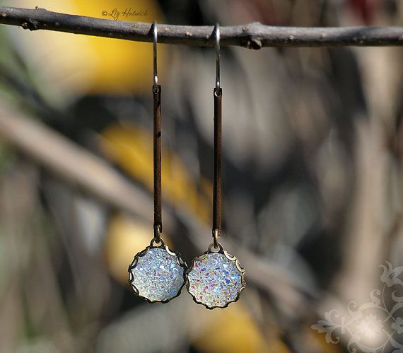Glitter Dangle Earrings Titanium Wire Brass and Faux by LizHutnick