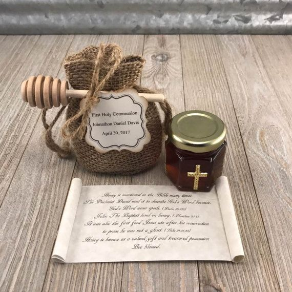 This is the perfect favor to bless your guests with at your Baptism, Christening or First Holy Communion.  Honey is mentioned in scripture 61 times. John The Baptist lived on it and The Psalmist David used it to describe Gods word (like Gods word honey never spoils) It was also the first food Jesus ate when he was resurrected. What better way to celebrate the blessed event of First Holy Communion or Confirmation then with our First Holy Communion Favors from The Holy Honey Company.  Each…