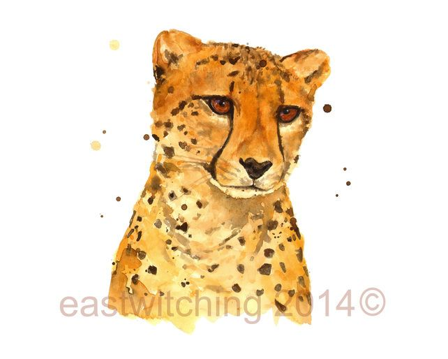 CHEETAH painting, Watercolour cheetah print, safari animals, 8x10 print  £15.00 #cheetah