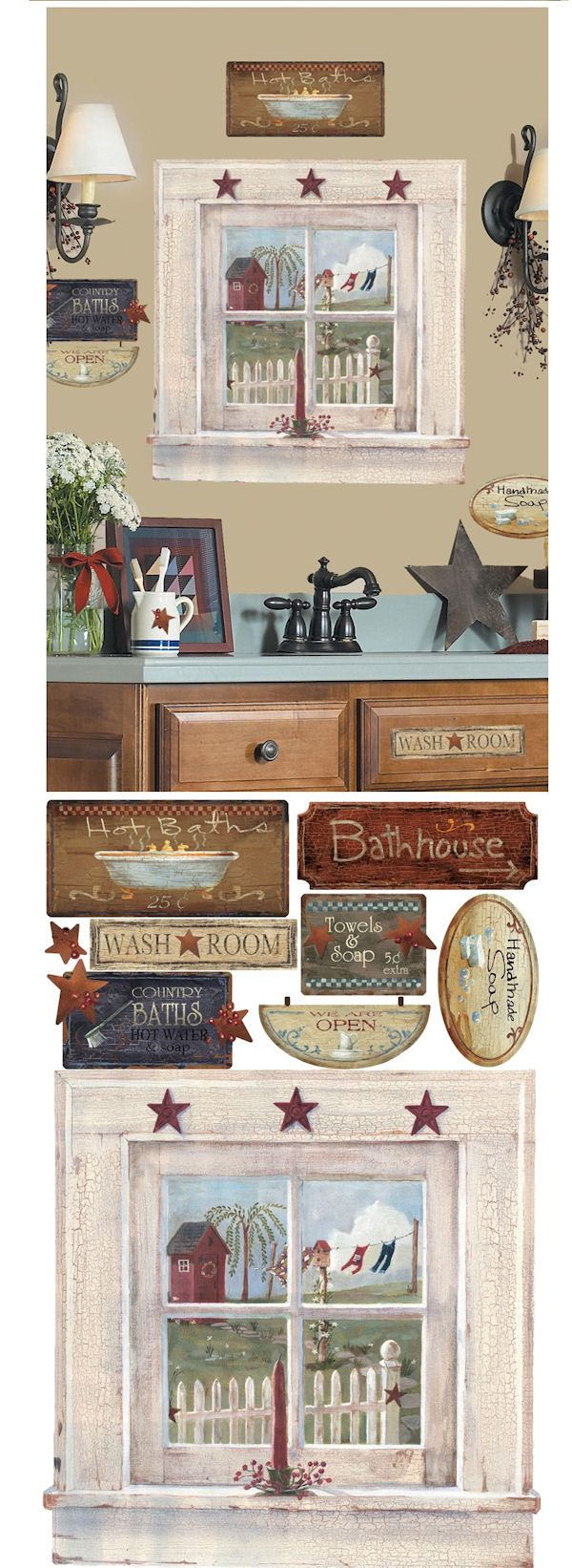 Give your bathroom or powder room that classic country feeling with these primitive wall decals. This set includes a large country window overlooking a white picket fence, clothesline, and painted red outhouse. Also included are country signs perfect for decorating your bathroom. These charming wall decals are easy to apply, remove, and reposition at any time. They will never peel away your paint or leave behind a sticky residue when removed.  $26