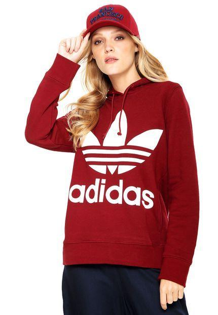 04724231f1b44 Moletom Fechado adidas Originals Trefoil Hoodie Vinho - Marca adidas  Originals