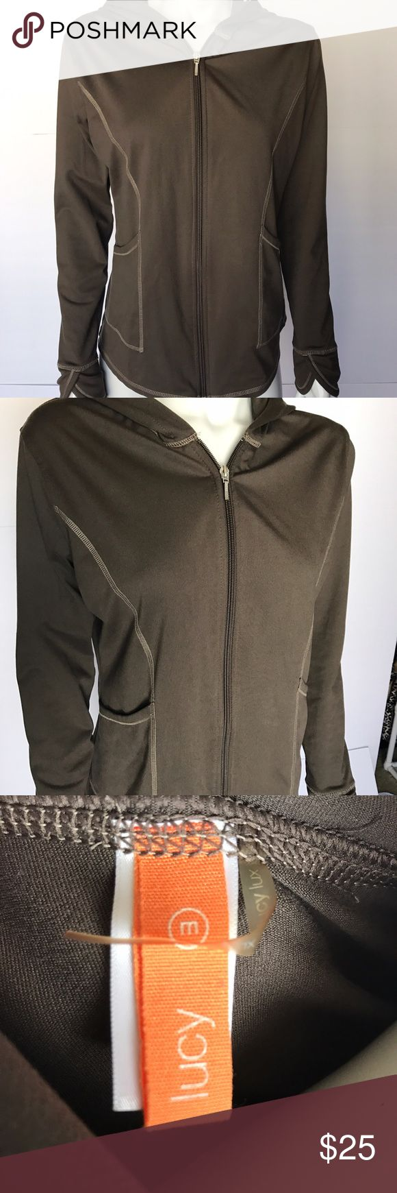 • Lucy • brown zip up sweatshirt Gorgeous athletic sweatshirt is a lovely brown color. Zips down the middle. So, so soft - part of the lucy lux collection. Two pockets on the front. Perfect for a workout or for casual wear. Lucy Tops Sweatshirts & Hoodies
