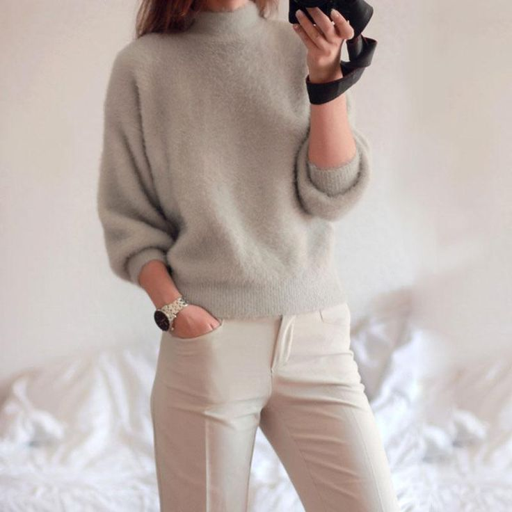 NELLBANG 2017 new winter casual Lantern sleeve loose thick pullover female turtleneck solid lady sweater women jumper  #love #iwant #instalike #instafashion #cool #styles #fashion #glam #cute #beautiful