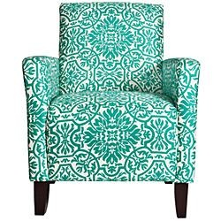 Damask Turquoise Blue Arm Chair