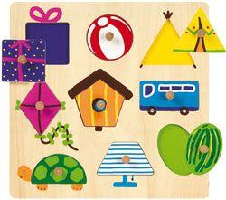 Actividad de reconocer figuras geométricas en objetos de la vida cotidiana.