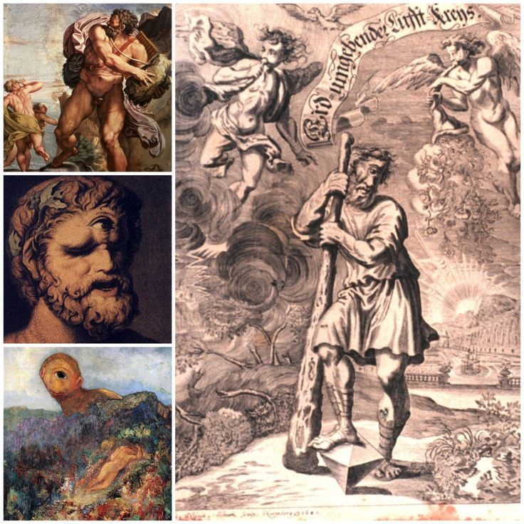 CÍCLOPES: Monstruos gigantes. Hijos de Urano y Gea. *Arges(Brillo). *Brontes (Trueno). *Estérope(Relámpago). Hay otras versiones de las generaciones de Cíclopes. Atributos: tenían un sólo ojo en la mitad de la frente y según Hesíodo eran fuertes, testarudos y de bruscas emociones. #Magarte #Historiadelarte #arthistory  #mitologiaclasica #mythology #mitologiagriega #mitologiaromana #ciclopes #arges #brontes #esterope  21/365