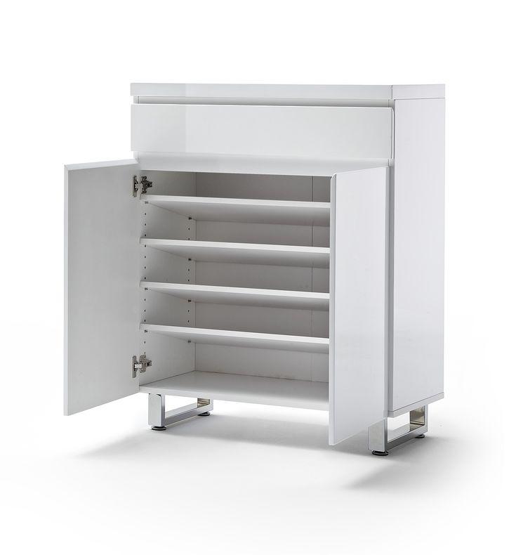 Schuhschrank Bianco I Hochglanz weiß passend zum Möbelprogramm Bianco 1 x Schuhschrank mit 2 Türen 1 Schubkasten 4 Einlegeböden Maße: B/H/T ca.   85 x 104 x...  #flur #schuhschrank