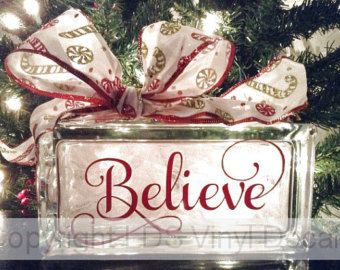 Believe Christmas Vinyl Lettering for Glass by LDSVinylDecals