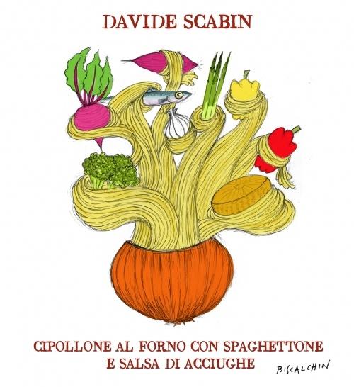 Cipollone al forno  Davide Scabin lo svuota e lo riempie di pasta, pesce e verdure. Una vera calotta di sapori