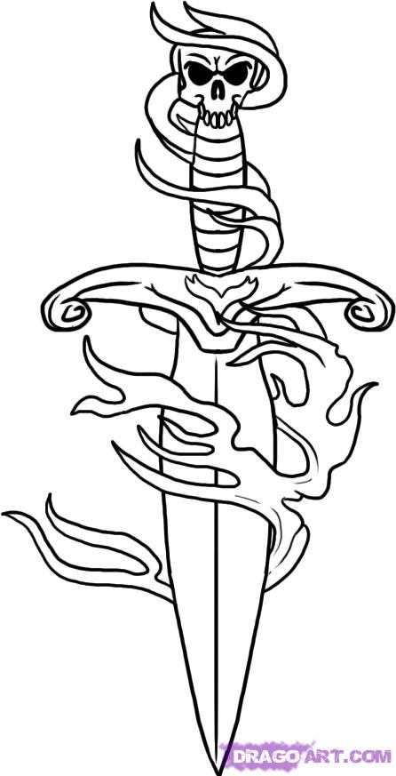 Dagger Tattoo Outline: How To Draw A Dagger, Step By Step