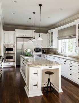 Love! Traditional Kitchen with Stained Black Walnut Floors, Painted White Cabinetry and Granite Countertops - by L Design Interiors