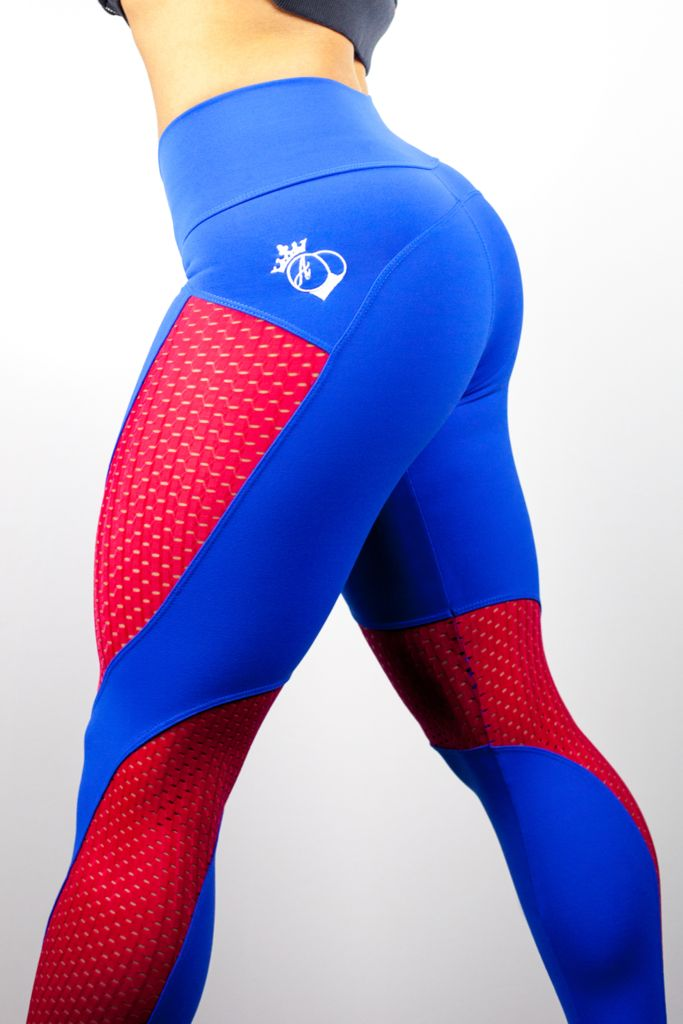 The Newest Addition to the BootyQueen Legging Family. The RED, WHITE, & BLUE Limited Edition. With this RED, WHITE, & BLUE option the legging is a moisture wicking matte Royal Blue while the cut out p