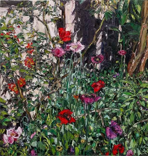 © Nicholas Harding ~ Taormina garden (poppies and shadows) ~ 2014 Oil on Belgian linen at Olsen Irwin Gallery Sydney Australia