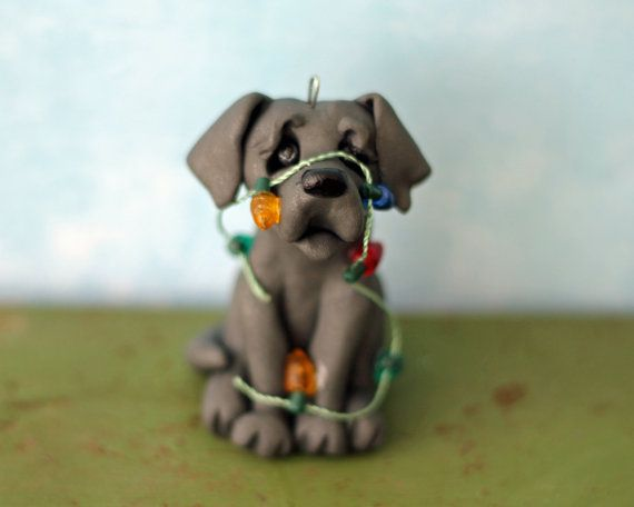 Puppy Christmas Ornament - READY TO SHIP - Grey Dog Tangled in ...
