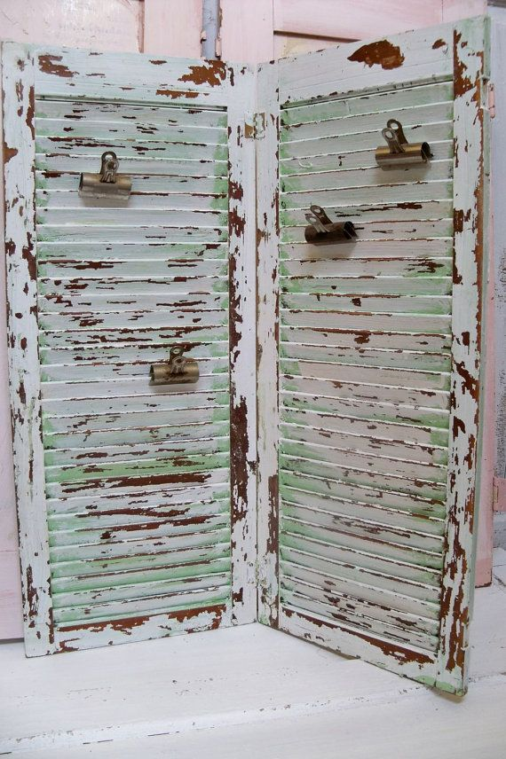 Large wood hinged shutters with 4 vintage by AnitaSperoDesign, $115.00