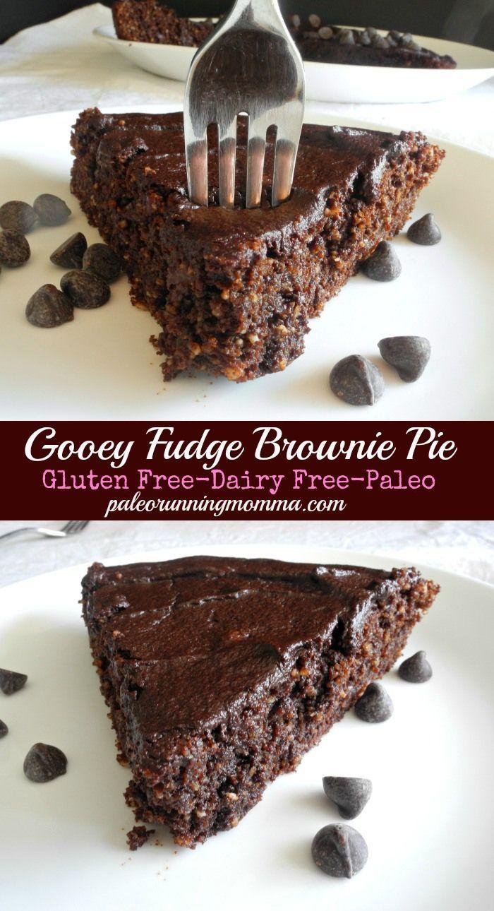 Gooey Fudge Brownie Pie #glutenfree #dairyfree #paleo @paleorunmomma