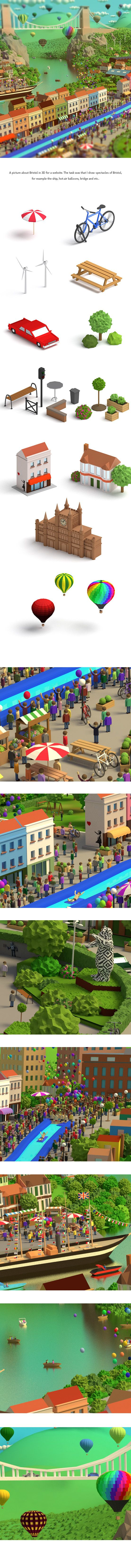Bristol in low-poly on Behance