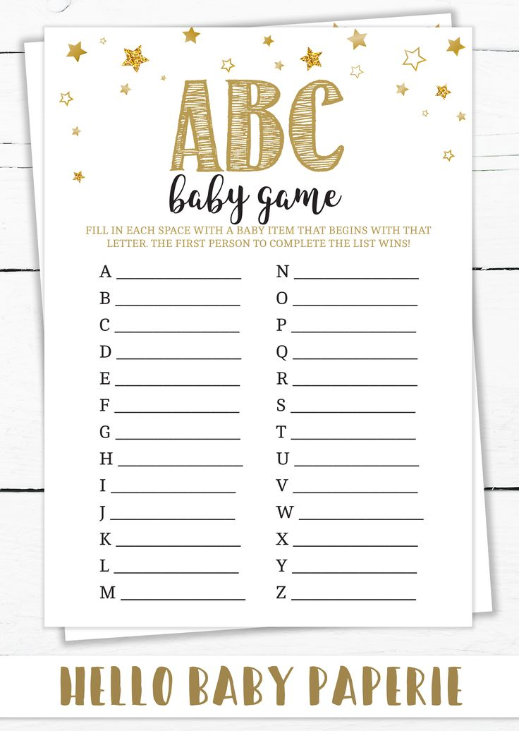 Baby Shower Games, ABC Baby Game, Baby Shower Girl, Baby Shower Boy, Baby Shower Ideas, ABC Game