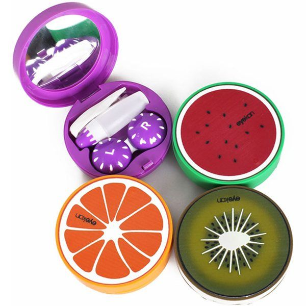Multi-pattern Travel Soak Storage Cute Fruit Contact Lens Case Box Holder Mirror
