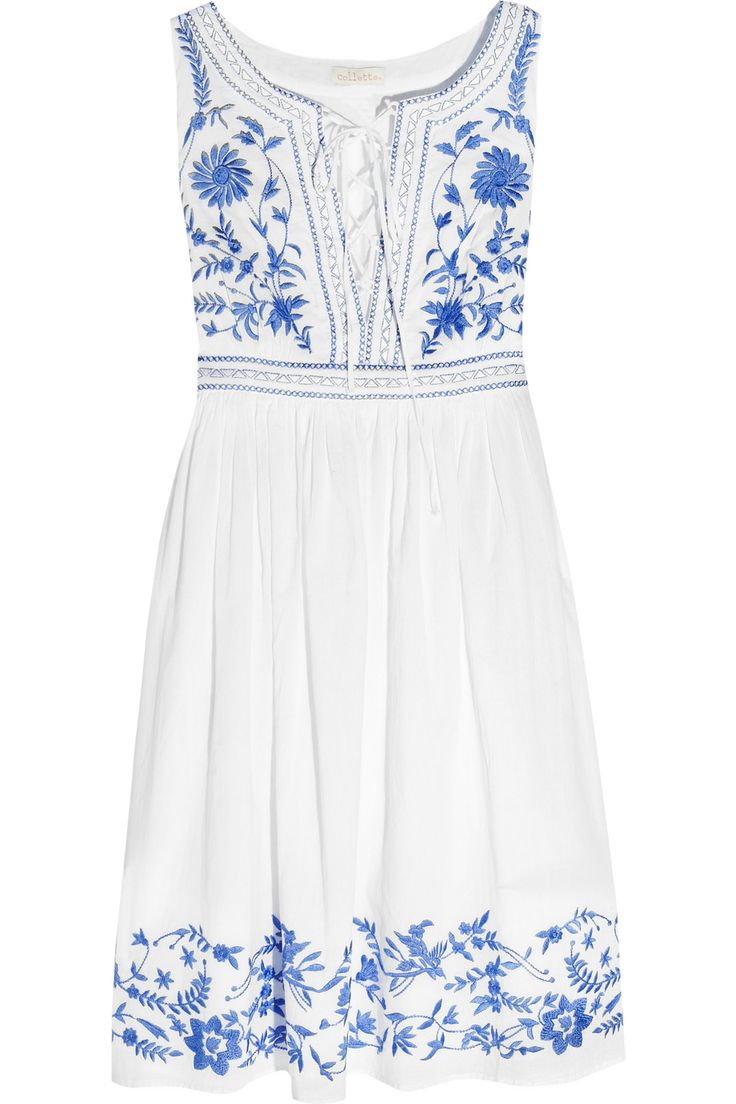 Blue and white dress.