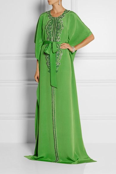 Oscar de la Renta Embellished silk-crepe kaftan