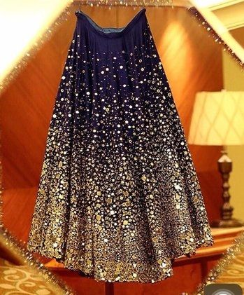 Blue lehenga with mirror work