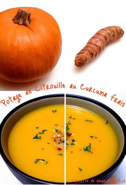 1 recette de soupe: Potage de Citrouille au Curcuma frais et au Cari