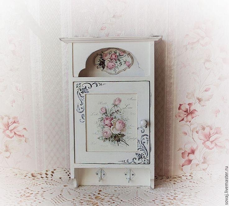 """Купить Ключница шебби-шик """"Розовый сад"""" - шебби шик, оригинальный подарок"""
