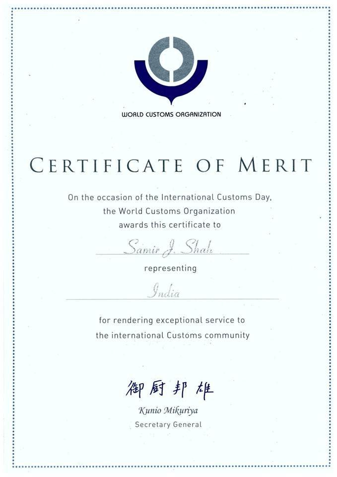 Certificate Of Merit World Customs Organization Custom Organizers Custom Certificate Of Merit