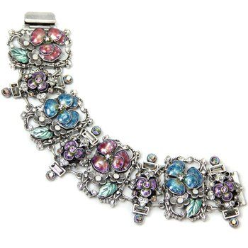 One of fabulous masterpiece from Sweet Romance an eye catching Enamel Pansies Retro Bracelet must be added to your collection