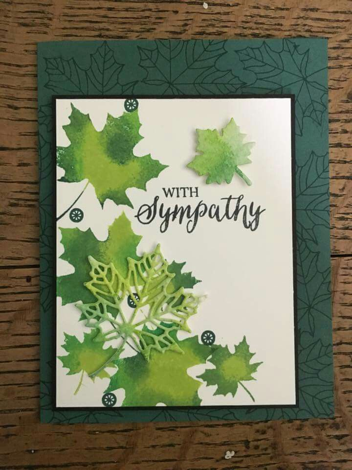 handmade sympathy card ... maple leave in shades of greens and four forms .... lacy die cut, solid die cut, solid stamped with mottled greens and line art tone on tone stamping ... lovely card!