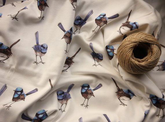 Blue Wren Watercolor Australian Birds, Printed Cotton Fabric 1 yard   Ships from USA, Free Ship Worldwide
