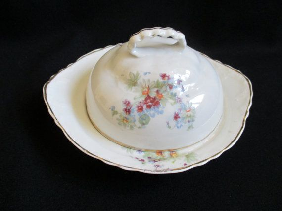 Vintage Cheese Serving Dish Covered Butter Dish by KLBVintageWares