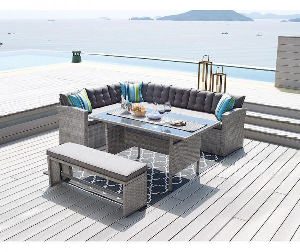 Set Mobilier Gradina Modern 1 Coltar 1 Canapea 1 Masa 1 Bancheta Hoome Ro Bedroom Furniture Shops Patio Dining Set Outdoor Dining Set