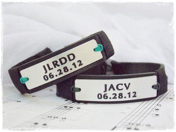 Custom Leather Bracelet Personalized Date by ChrisOsCreations