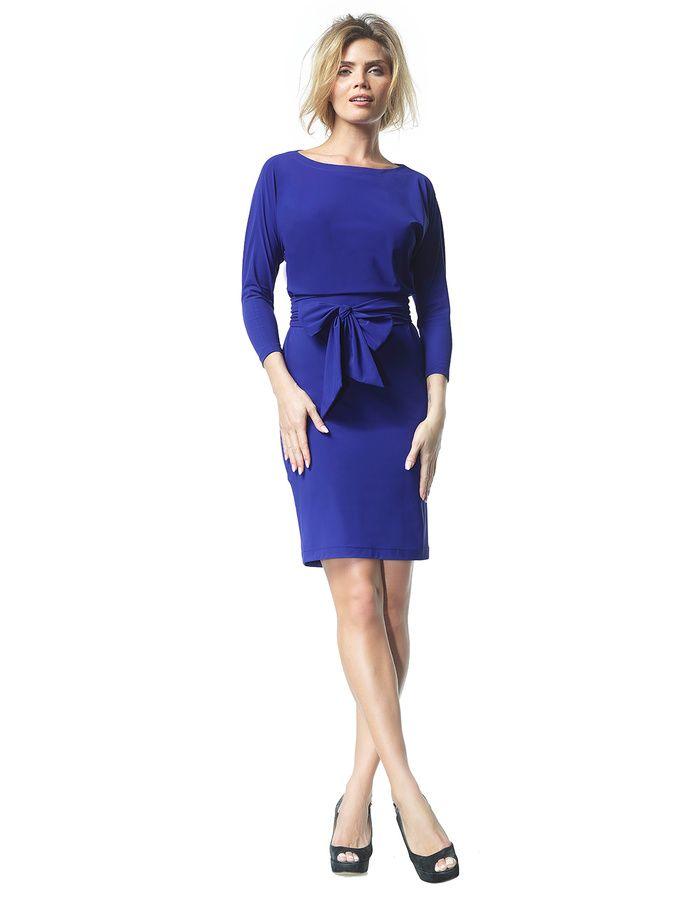 Caroline - royal blue - Jersey lycra butterfly dress | LaDress