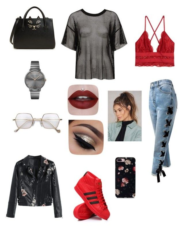 """""""Sans titre #35"""" by audree-bellefleur on Polyvore featuring mode, Sans Souci, adidas, Rebecca Minkoff, Charlotte Olympia et NA-KD"""