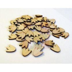 Dřevěné kytičky - tulipán 2 cm - 10 ks
