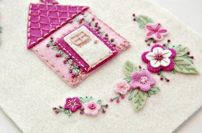 Embroidered felt house