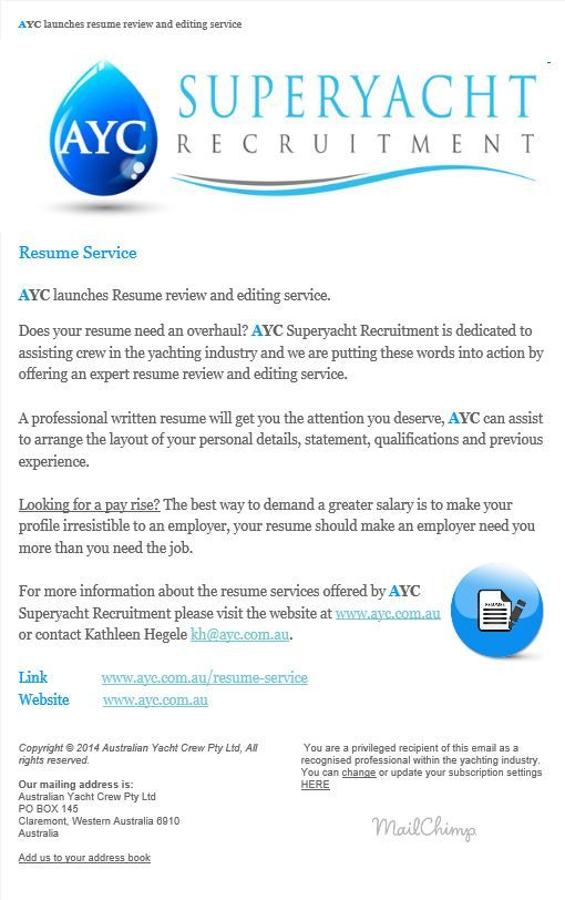 AYC resume review and editing service. www.ayc.com.au/resume-service