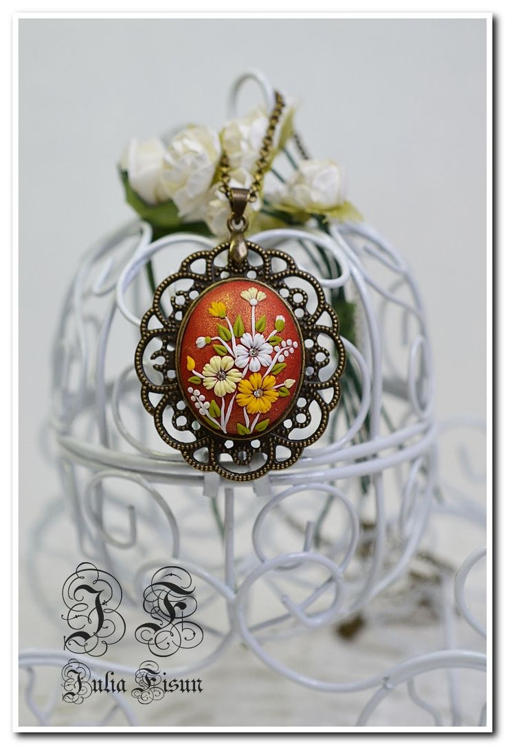"Shaped Pendant Necklace "" Hot summer"" - Floral Jewelry-Feminine Necklace Polymer Clay-Applique Floral Embroidery-Filigree Technique by BiJuly on Etsy"