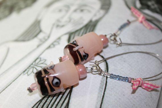 Buddha eyes Earrings/Pink earrings/Dangles/Yoga by Ninodesigns
