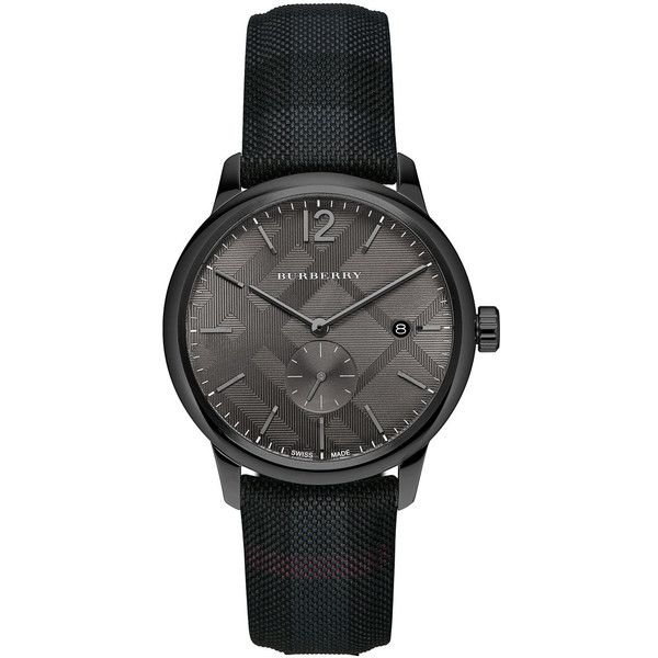 Burberry 40mm Classic Round Watch with Leather Strap ($368) ❤ liked on Polyvore featuring men's fashion, men's jewelry, men's watches, black, mens blue dial watches, stainless steel mens watches, burberry mens watches, mens leather strap watches and mens black face watches
