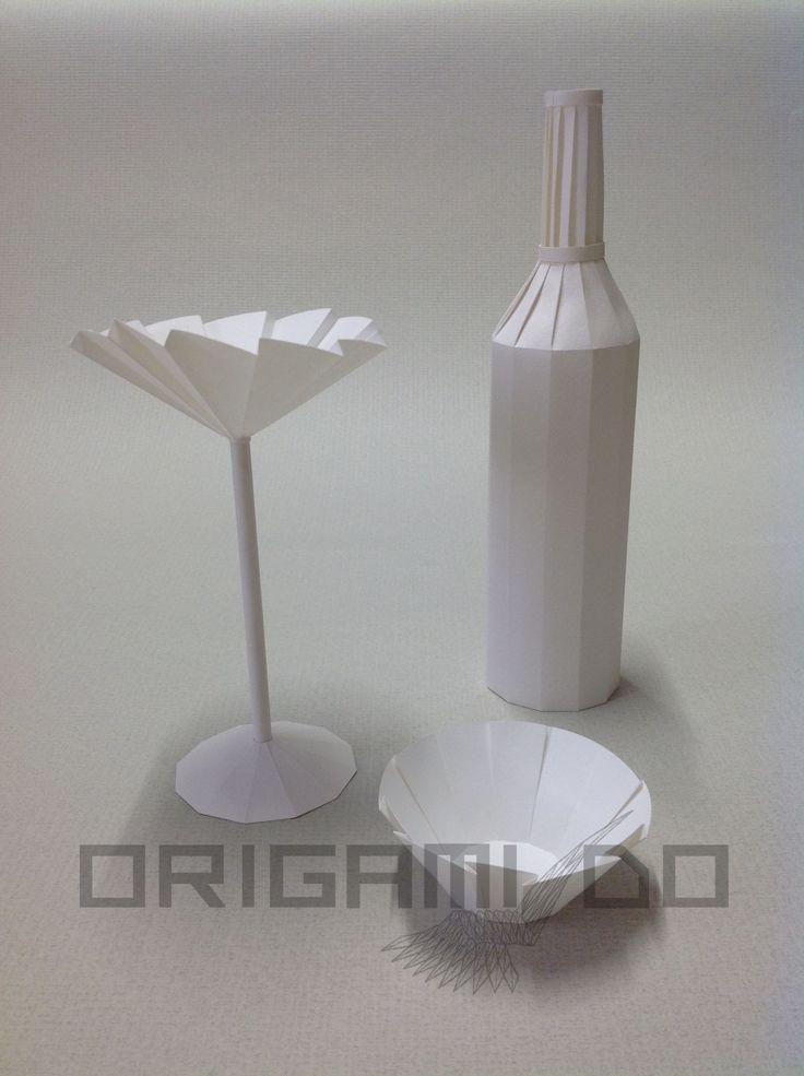 Origami Bottiglia, Calice e Ciotola