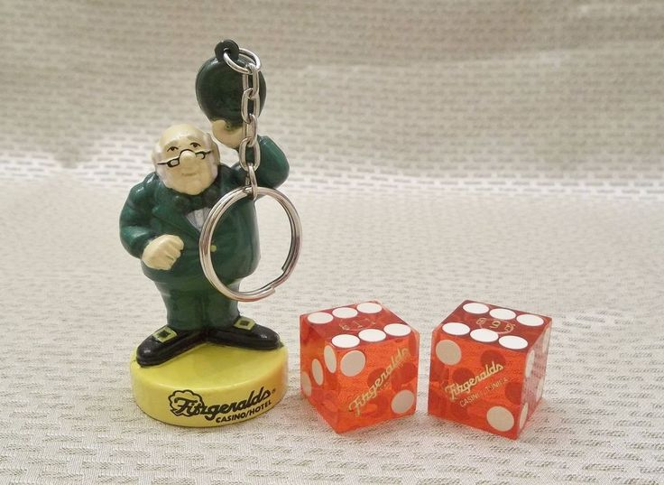 Fitzgeralds Casino & Hotel Key Ring & Dice Tunica MS Mr. Lucky Keychain